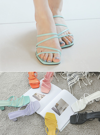 Two-way Color Strap Sandal Heel