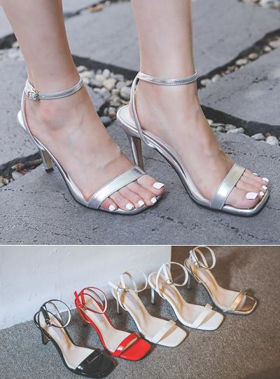 Modern Square Enamel Sandal Heel