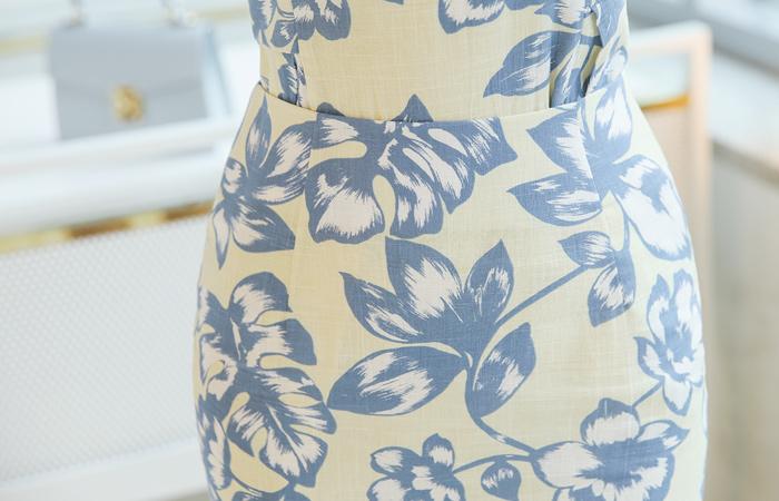 Linen quality Flower Printing Skirt