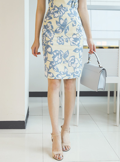 Linen quality Flower Printing Skirt