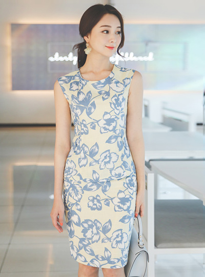 Linen quality Flower Printing Two-Piece SET