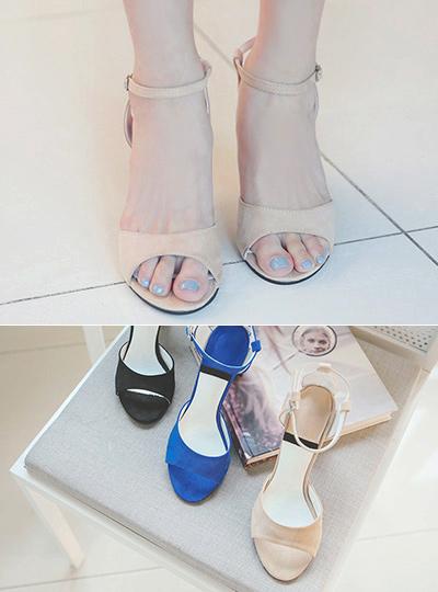 Summer Suede unique Strap Sandal Heel