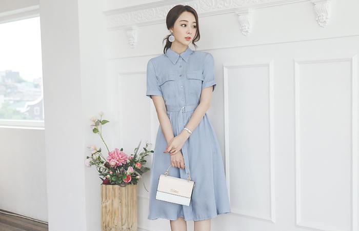 Satin Collar Shirt Belted Flared Dress