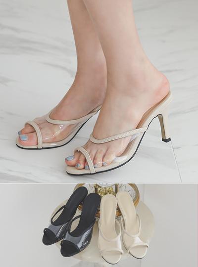 Simple Transparent Strap Slipper Heels