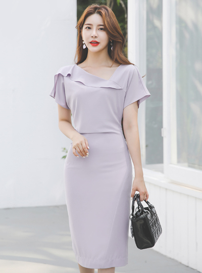 Unbalance Frill Neck Back-Shirring Span Dress
