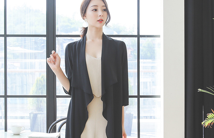 Frill Slit Chiffon Long Cardigan
