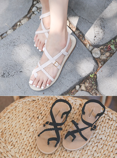 Summer Rattan Strap Flip Flops
