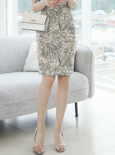 Linen Leaf Printing H-line Skirt