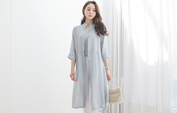 See-through Flower Back-Lace Chinese Long Shirts