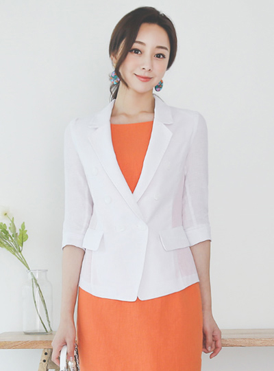 Linen Double-button Stitch Tailored Jacket