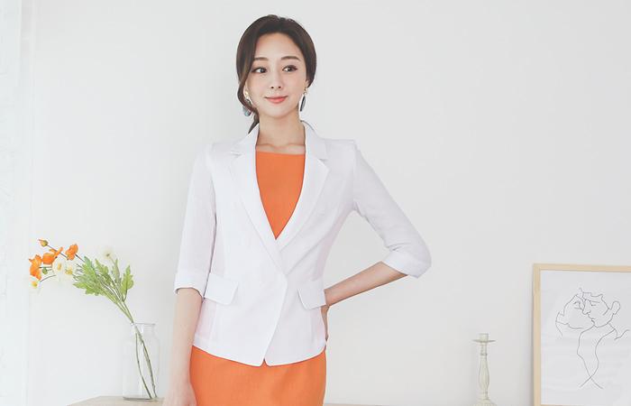 Linen Double-button Stitch Tailored Jacket