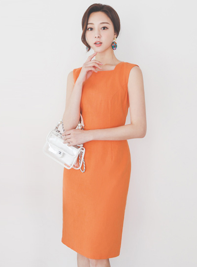 Basic Square Neck Cutting Sleeveless Dress