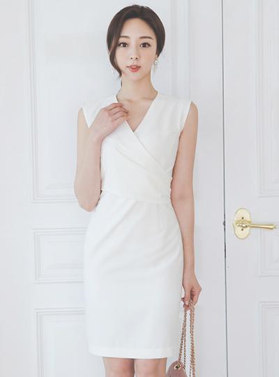 V-neck Wrap Style Sleeveless Span Dress