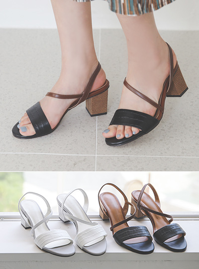 Snake Color Combination Strap Sandal Heel