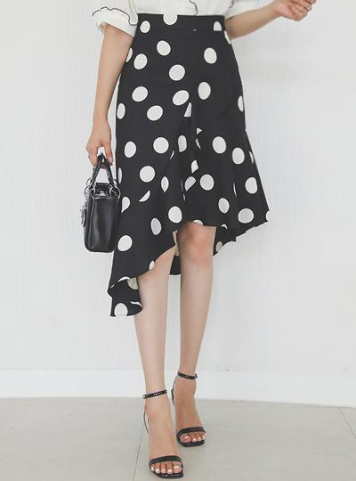 Dot Unbalance Ruffle Linen Skirt