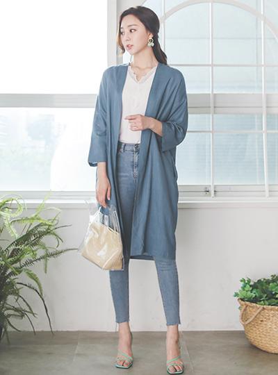 Summer Basic Linen Open Long Cardigan
