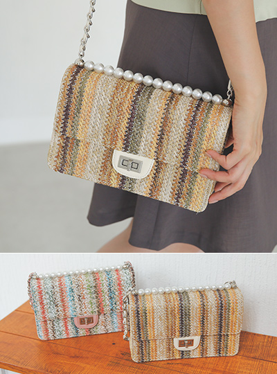 Rattan Rainbow Pearl Chain Bag
