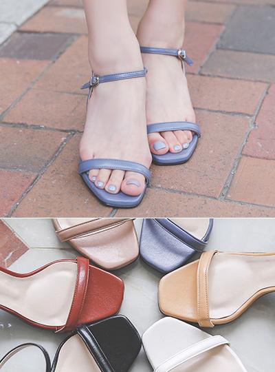 Urban Color Strap Block Sandal Heel