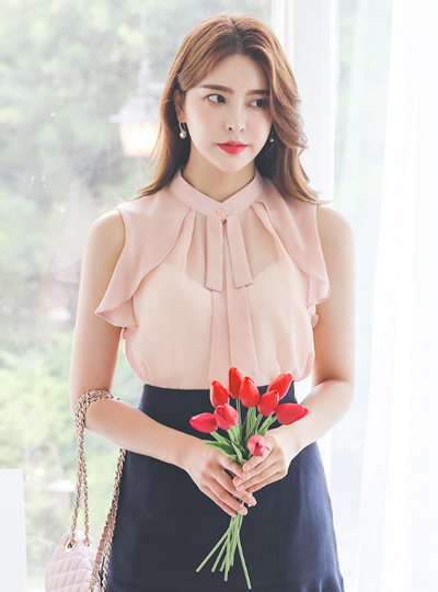 Double Ribbon Ruffle Sleeveless Blouse