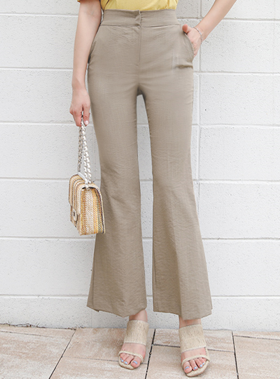 Back Banding Linen Slit Boot-Cut Slacks