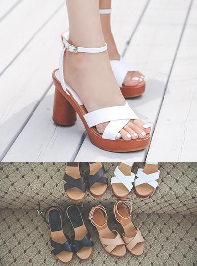 Summer 리얼 Wood&Cowhide Platform-Sandals