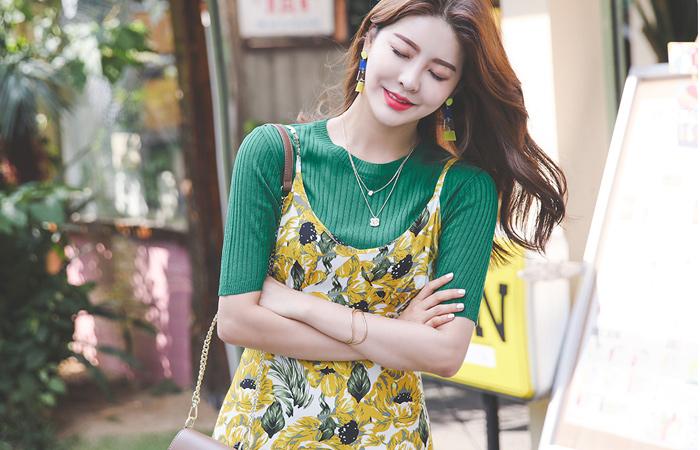 Big Flower Shirring Bustier Slit Long Dress