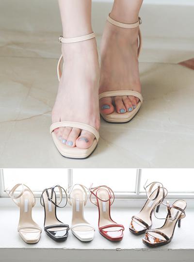 Enamel Platform shoes Ankle Strap Sandals