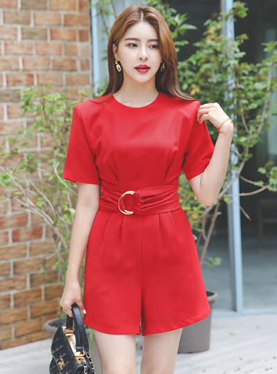 Modern Chic Wide O-Ring Belt Shot Jump suit