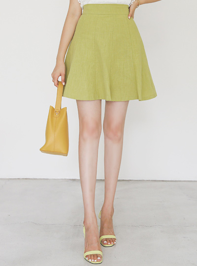 Gored Linen Back Banding Mini Skirt(pants lining)