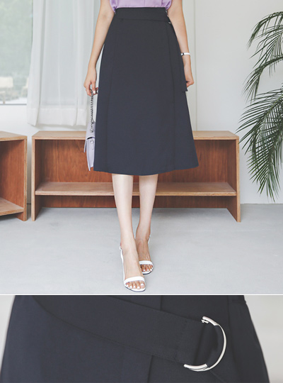 Side Buckle Span A-line Skirt