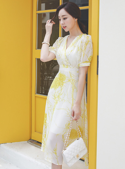 Mable Puff Chiffon Dress
