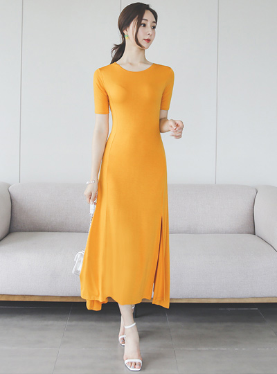 Silket Touch Slit Long Flared Dress