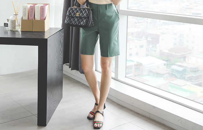 Simple Back Banding Summer Midi Pants