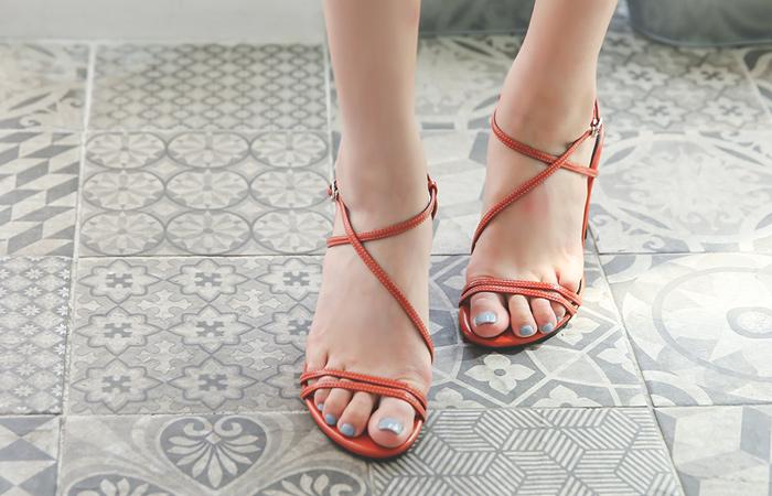 Colorful Slim Strap Block Sandal Heel
