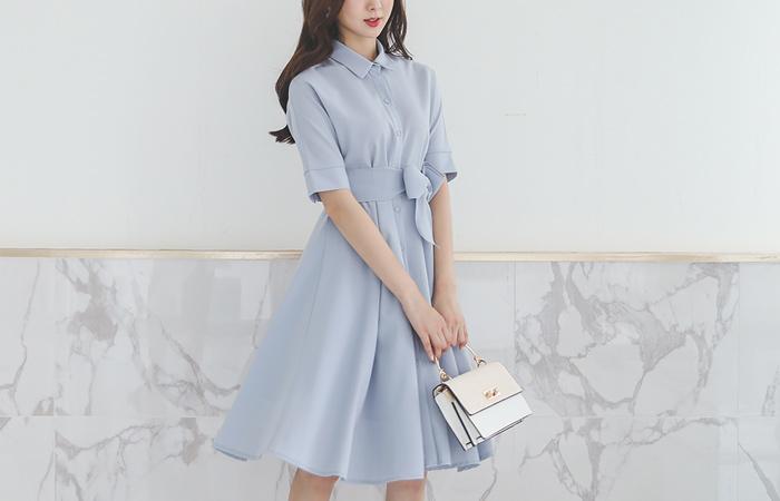 Feminine Shirt Flared Dress(Strap Belt) Ⅱ