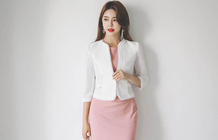 Summer Tweed Chiffon Trimming Pearl Pocket Shot Jacket