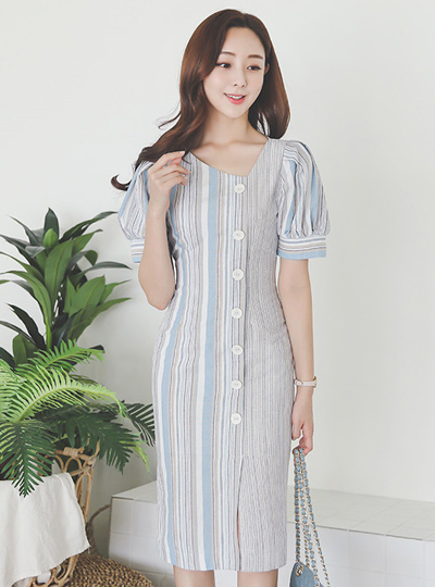 multi Stripe Unbalance V-neck Button Dress