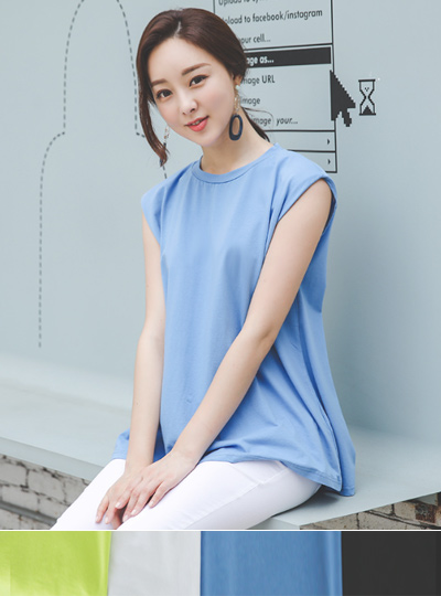 Shoulder Pad Soft Sleeveless T-shirt