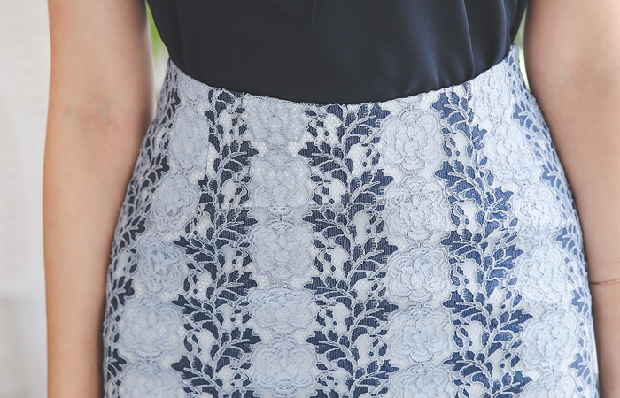 Blanche Rose Leaf Lace Skirt