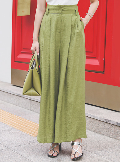 Linen Pintuck High-Waist Wide Slacks