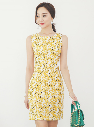 Linen-Touch Dandelion Sleeveless Cotton Dress