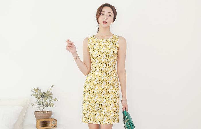 Linen-Touch Dandelion Sleeveless Cotton Dress