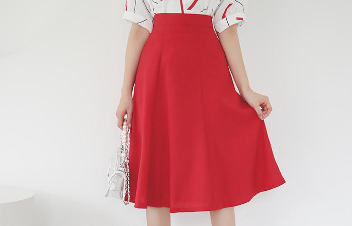 Summer Gored Back Banding Flared Skirt