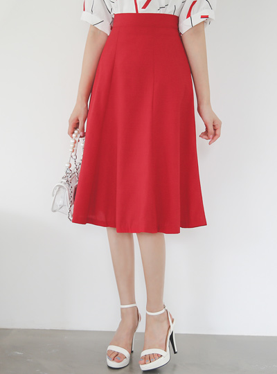 Summer Gored Back Banding Flared Skirt