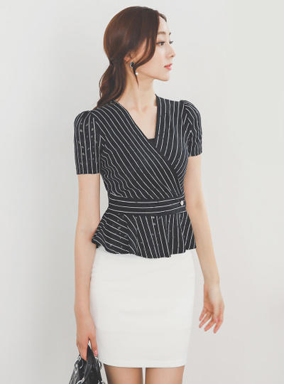 Stripe Belted Peplum Span Dress