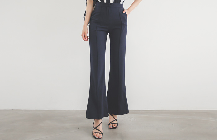 Pintuck High-Waist Semi- Boot-Cut Slacks