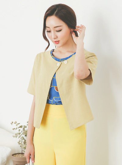 Two-way Button Round Short Sleeves Open Jacket