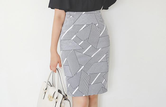 Stripe Patterns H-line Cotton Skirt