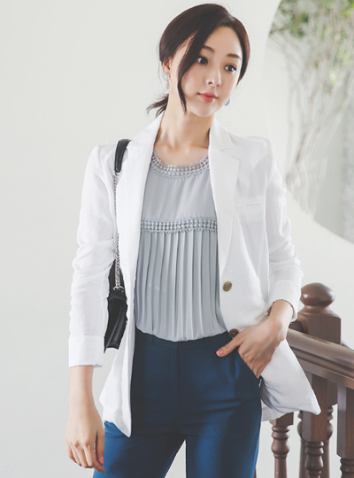 Linen Cutting-line Patch Tailored Jacket
