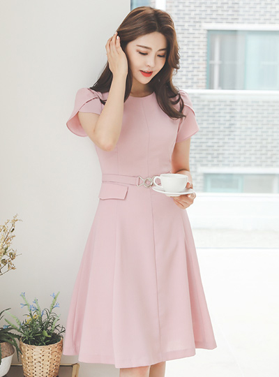 Flap Pocket Tulip Sleeves Flared Cutting Dress